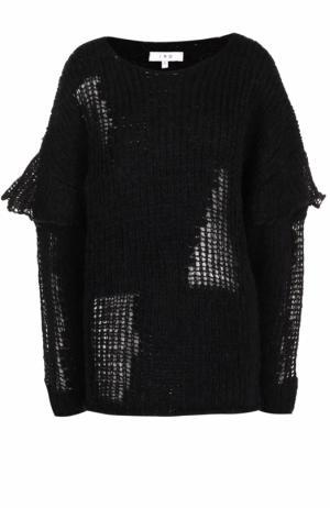 Шерстяной пуловер фактурной вязки с круглым вырезом Iro. Цвет: черный