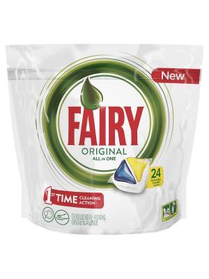 Средство для мытья посуды в капсулах посудомоечных машин Лимон 24шт Fairy. Цвет: зеленый, белый