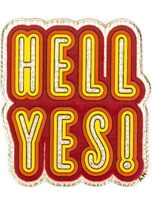 Стикер Hell yes! Anya Hindmarch. Цвет: жёлтый и оранжевый