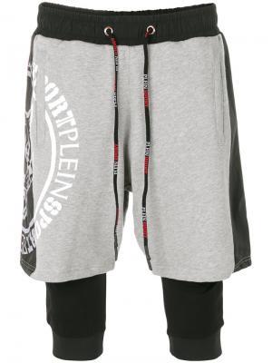 Многослойные спортивные шорты Plein Sport. Цвет: чёрный