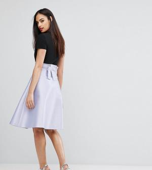 Vesper Атласная юбка на выпускной с бантом сзади Bonded. Цвет: фиолетовый
