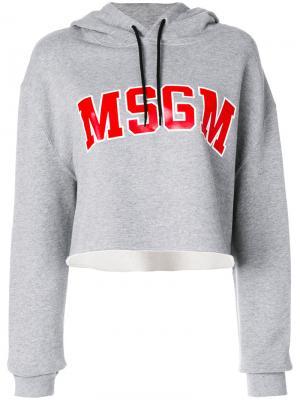 Укороченная толстовка с логотипом MSGM. Цвет: серый