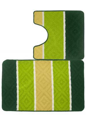 Набор ковриков для ванной Tete-a-Tete. Цвет: зеленый, красный (бордовый), красный (коралловый)
