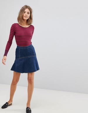 Esprit Джинсовая мини-юбка с баской. Цвет: черный