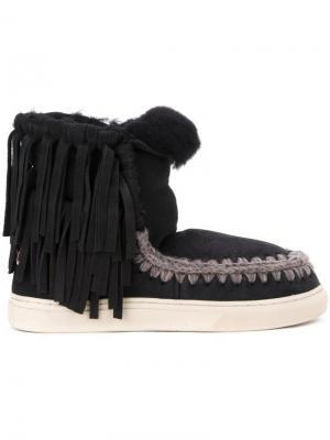 Ботинки с бахромой Mou. Цвет: чёрный