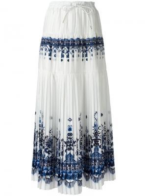 Длинная юбка с орнаментом Sacai. Цвет: белый