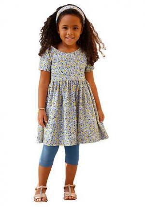 Комплект: платье + повязка на голову легинсы KIDOKI. Цвет: синий/с рисунком