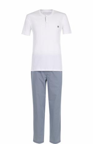 Хлопковая пижама с брюками Ermenegildo Zegna. Цвет: белый
