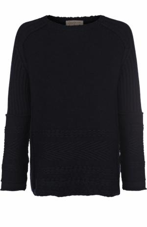 Шерстяной свитер фактурной вязки Yohji Yamamoto. Цвет: темно-синий