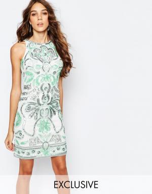 Frock and Frill Цельнокройное платье с отделкой. Цвет: мульти