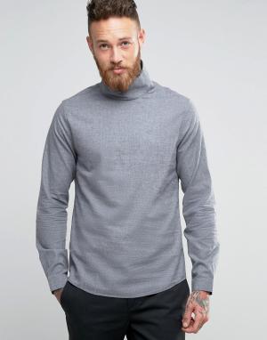 Hoxton Shirt Company Рубашка узкого кроя с воротником-труба. Цвет: серый