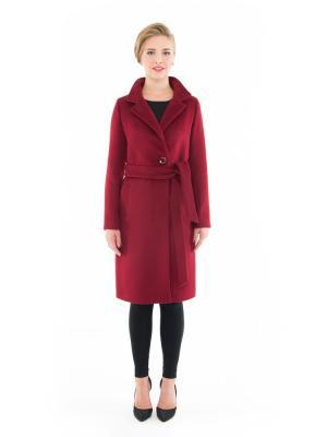 Пальто GallaLady. Цвет: темно-бордовый
