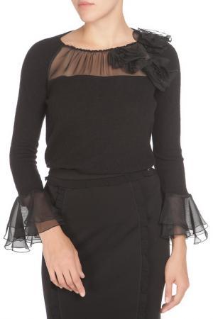 Полуприлегающая блузка с полупрозрачными вставками Cristina Effe. Цвет: 2-6a 5, nero