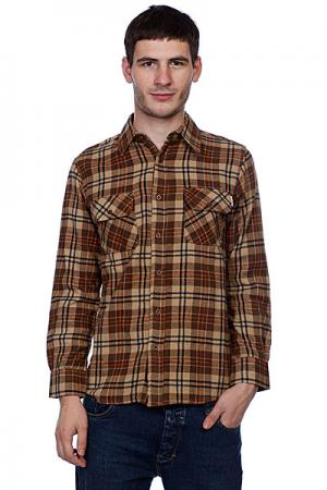 Рубашка в клетку  Control Button Up Brown/Orange Independent. Цвет: коричневый