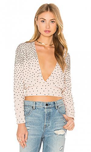 Блуза с v-образным вырезом и отделкой бисером Hoss Intropia. Цвет: румянец