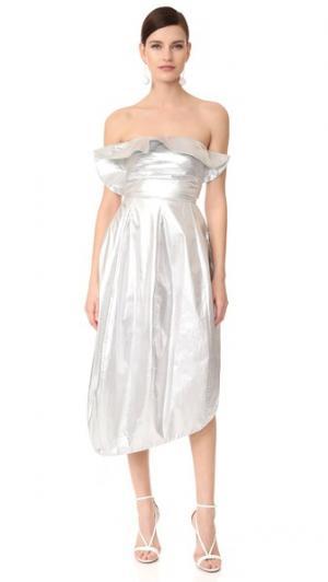 Платье с оборками A.W.A.K.E.. Цвет: голубой