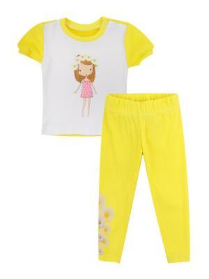 Набор одежды: футболка, леггинсы Коллекция Ромашки КОТМАРКОТ. Цвет: желтый