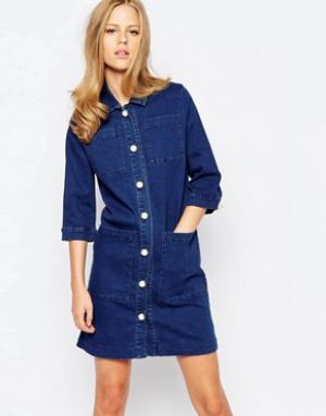 The Laden Showroom Джинсовое платье-рубашка на пуговицах X Even Vintag. Цвет: синий