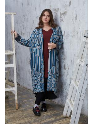 Пальто W&B. Цвет: синий, бирюзовый, серый, белый