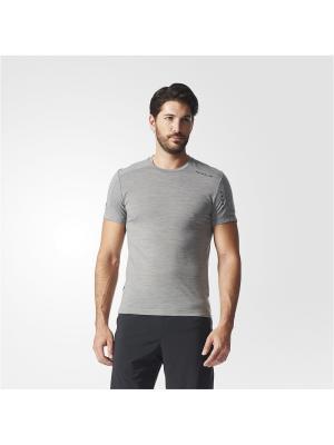 Футболка спортивная муж. TECH WOOL TEE Adidas. Цвет: серый