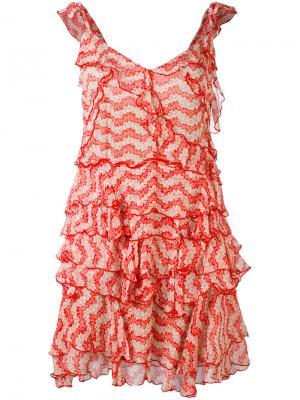 Платье с принтом и оборками Jasmine The Kooples. Цвет: красный