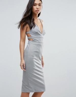 Talulah Облегающее платье с ремешками на спине Walk On By. Цвет: серый