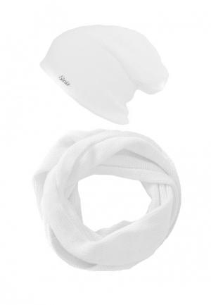Комплект снуд и шапка StaiX. Цвет: белый