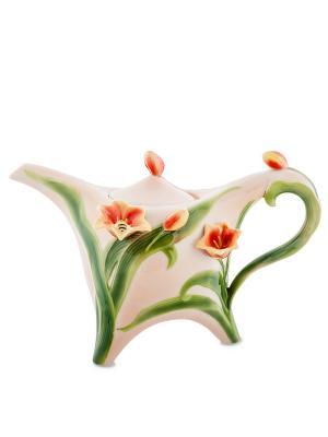Заварочный чайник Тюльпаны (Pavone) Pavone. Цвет: светло-зеленый, бледно-розовый