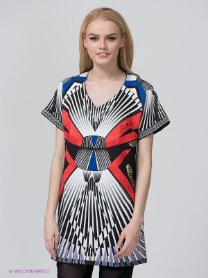 Платье BSB. Цвет: черный, синий, белый