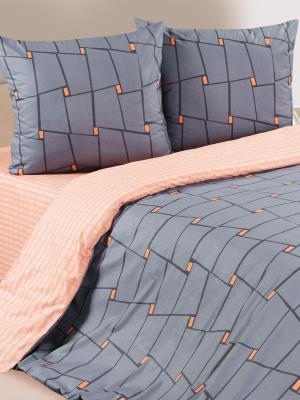 Постельное белье Престо ECOTEX. Цвет: темно-серый, светло-коралловый