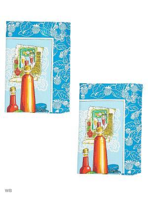 Набор полотенец вафельных кухонных Римейн. Цвет: синий, голубой, малиновый