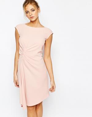 Closet London Платье миди с коротким рукавом и присборенной отделкой. Цвет: розовый