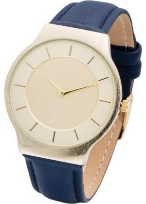 Часы на классическом браслете (темно-синий/золотистый) bonprix. Цвет: темно-синий/золотистый