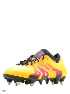 Футбольные бутсы (железки) муж. X 15.1 SG Adidas. Цвет: золотистый