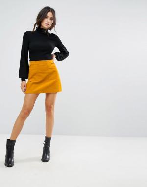 Brave Soul Вельветовая мини-юбка. Цвет: желтый