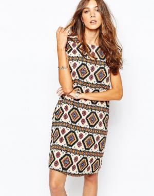 The Laden Showroom Платье с принтом и бахромой X Zacro. Цвет: кремовый
