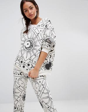 Wildfox Пижамный свитер Moon Astrology. Цвет: серый