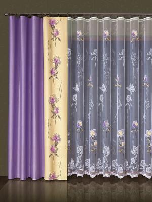 Комплект штор Wisan. Цвет: фиолетовый, бежевый, белый