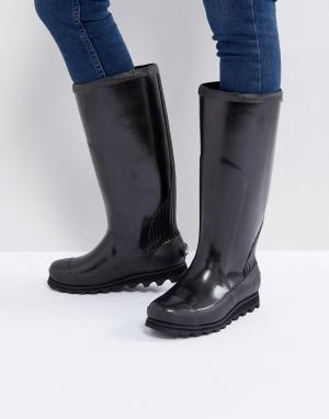 Sorel Черные высокие блестящие резиновые сапоги Joan Rain. Цвет: бежевый