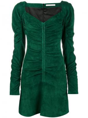 Платье мини с вырезом сердечком Olivier Theyskens. Цвет: зелёный