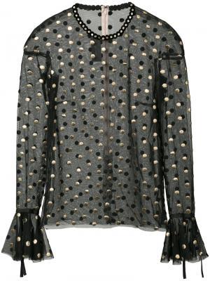 Прозрачная блузка с узором в горох Monique Lhuillier. Цвет: чёрный