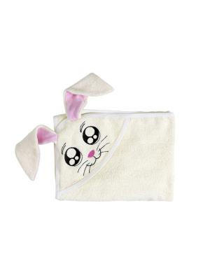 Полотенце с капюшономFUN DRY ЗАЙКИ Twinklbaby. Цвет: светло-бежевый, розовый