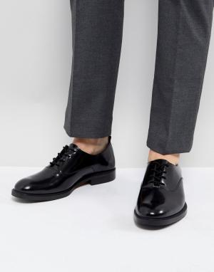 Zign Черные кожаные туфли на шнуровке. Цвет: черный
