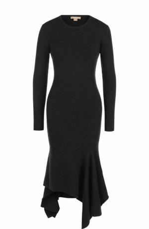 Приталенное платье-миди с длинным рукавом Michael Kors. Цвет: темно-серый