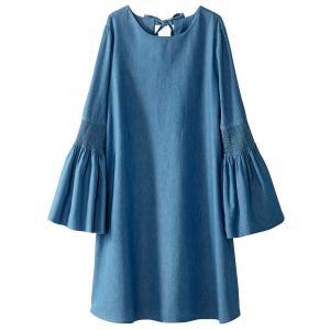 Платье из легкого денима, с рукавами, расширяющимися к низу La Redoute Collections. Цвет: синий