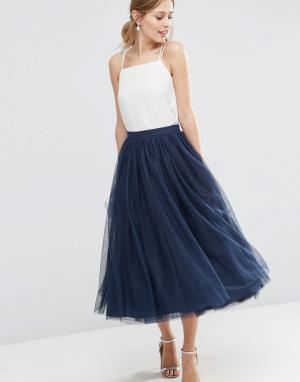 ASOS Многослойная юбка для выпускного из тюля. Цвет: темно-синий