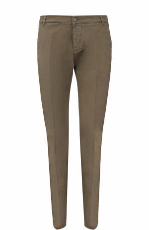 Хлопковые брюки прямого кроя 2 Men Jeans. Цвет: хаки