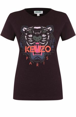 Хлопковая футболка с принтом и круглым вырезом Kenzo. Цвет: бордовый