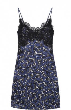 Платье-комбинация с принтом и кружевной отделкой Dorothee Schumacher. Цвет: синий