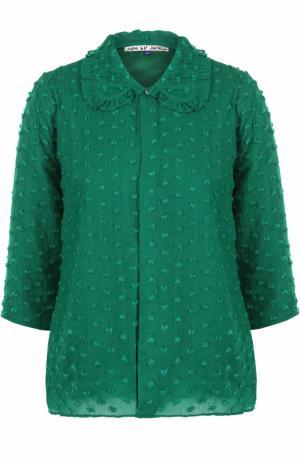 Шерстяная блуза с укороченным рукавом Jupe by Jackie. Цвет: зеленый